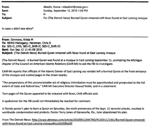 Unclassified email from Huma Abedin to Hillary Clinton dated September 12, 2010 and released August 31, 2015. Doc No. C05772407.